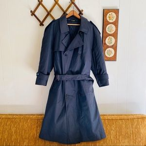 Vintage Double Breasted Belted Black Trench Coat